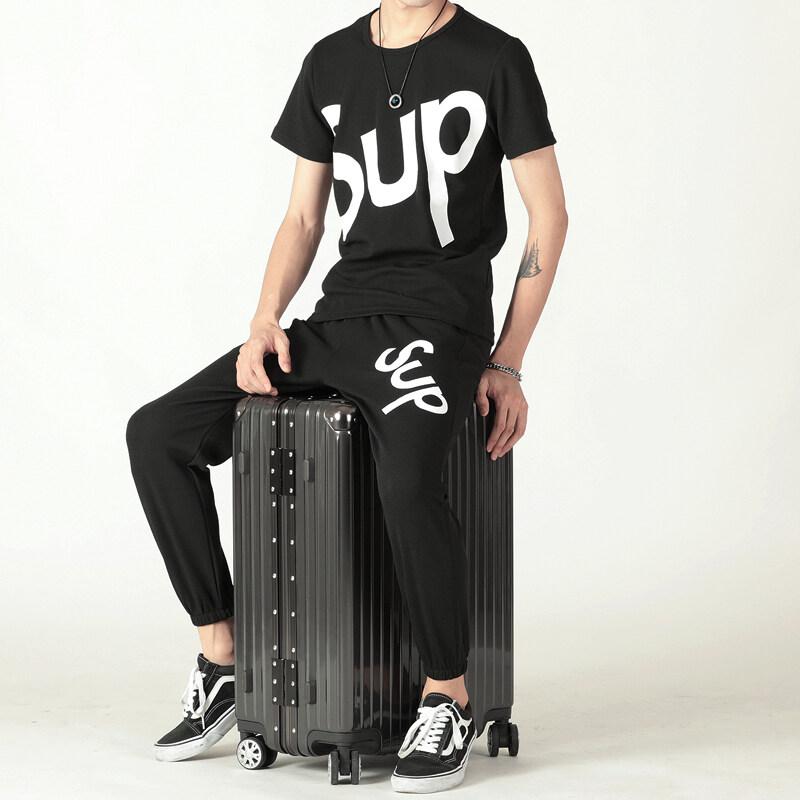 SUP2002019新款男士短袖t恤supt桖休闲裤运动套装九分裤