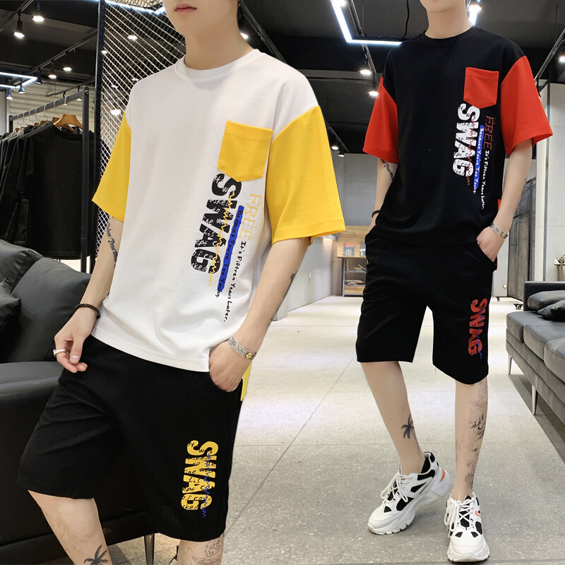 网红两件套男帅气潮牌运动夏季大码短袖t恤5分裤男土休闲短裤套