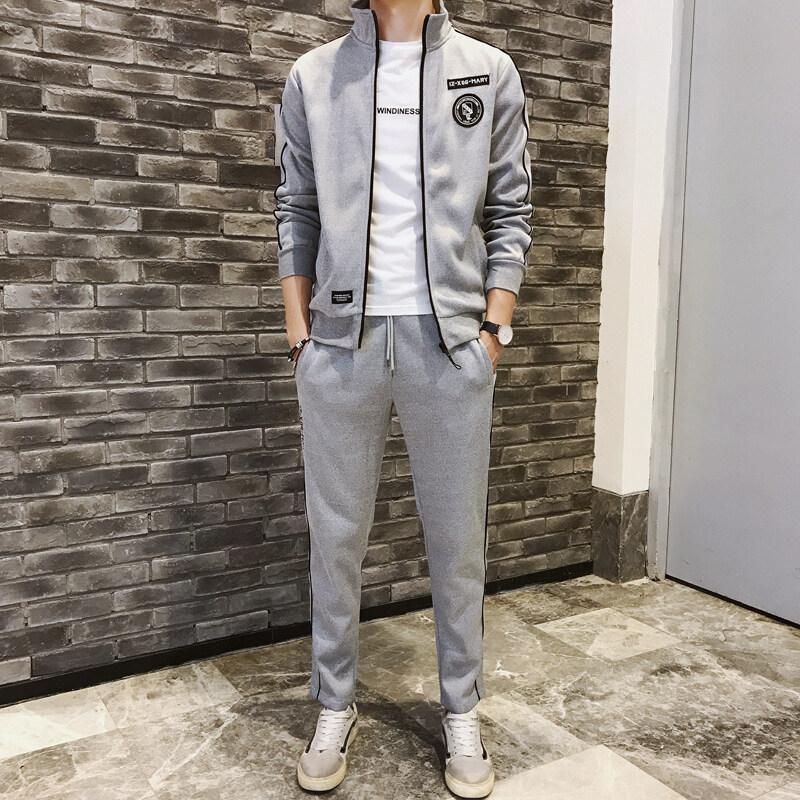 运动套装男士立领休闲卫衣春秋季套装2019新款男装韩版外套