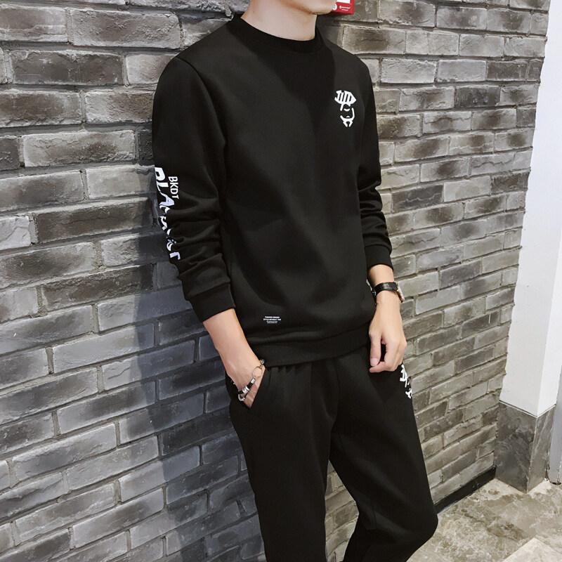 运动套装男2019新款加绒加厚圆领套头卫衣套装长袖长裤两件套