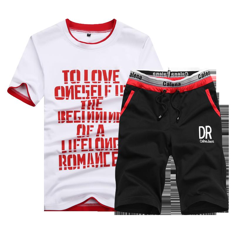 D03新款字母印花DRT恤 短裤青少年时尚潮流两件套男式套装