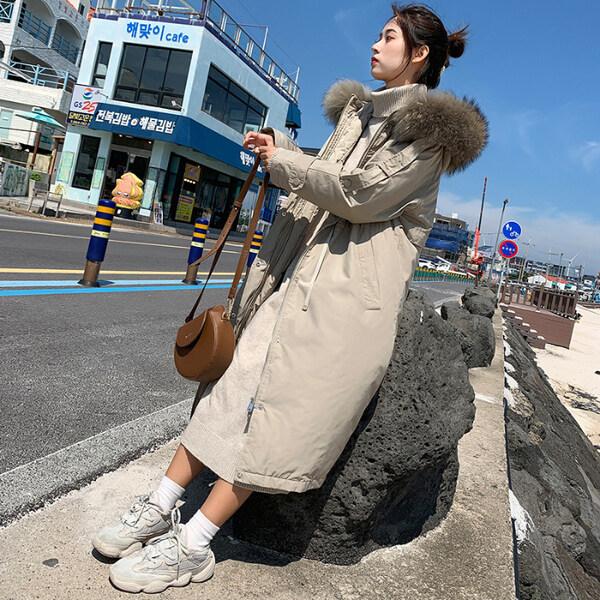 派克风衣长款过膝韩版羽绒服加厚超大毛领棉服女外套