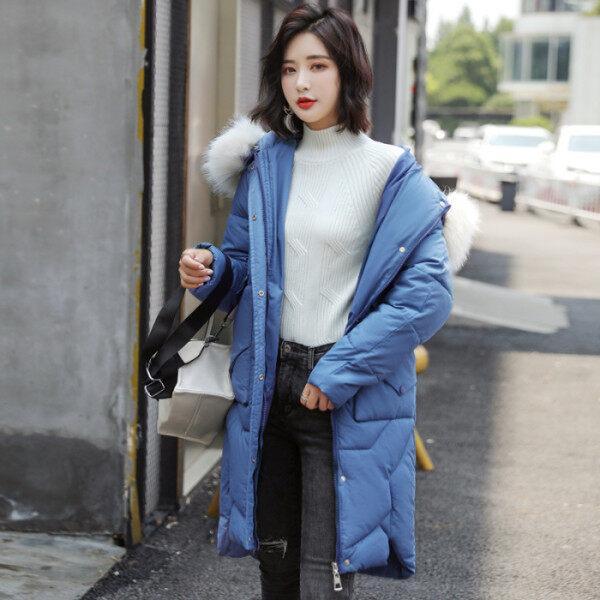 新款韩国东大门羽绒服女中长款大毛领学生棉衣棉服