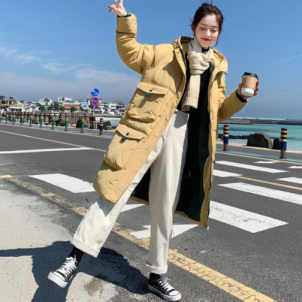韩版羽绒服女简约新款宽松面包服连帽加厚过膝棉服学生棉衣