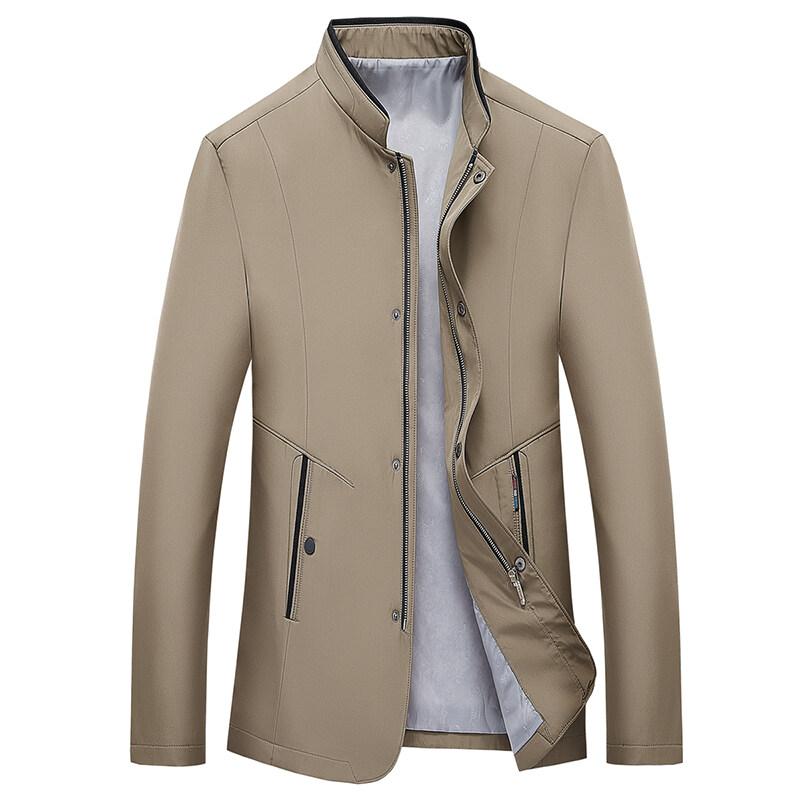 春秋装男装商务休闲立领夹克男修身中年茄克衫男士薄款外套