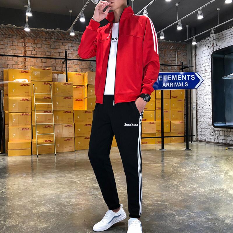 运动套装男春秋季新款修身跑步服立领卫衣男束口裤运动套装