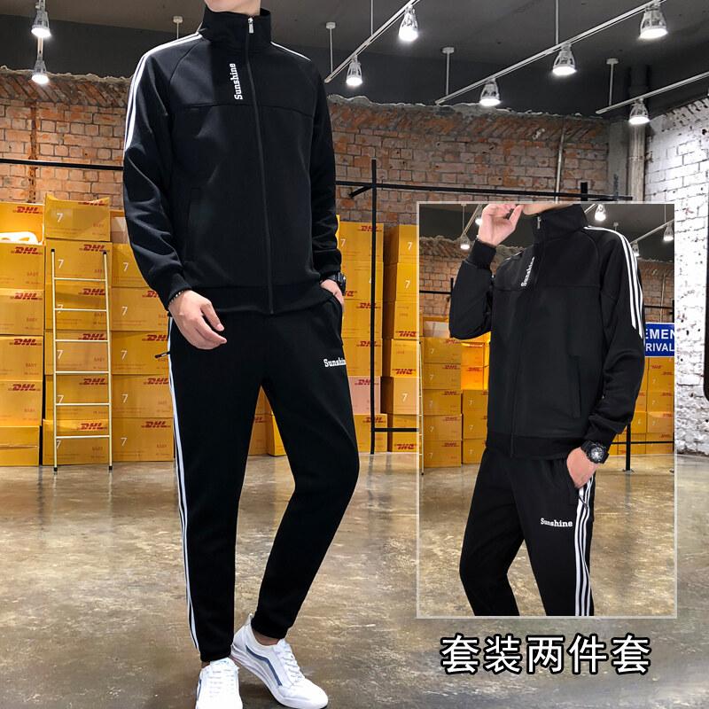 卫衣套装男秋季2019新款韩版潮流一套两件套跑步休闲运动套装