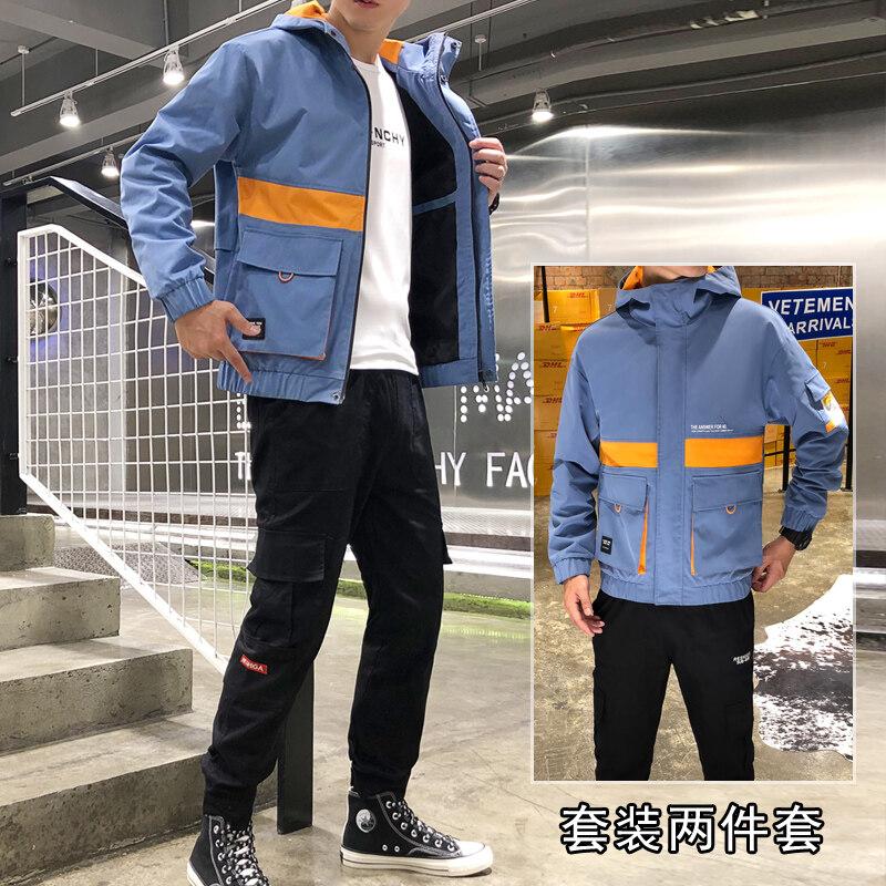 工装夹克套装学生韩版潮牌男装一套搭配帅气牛仔潮流衣服春秋外套