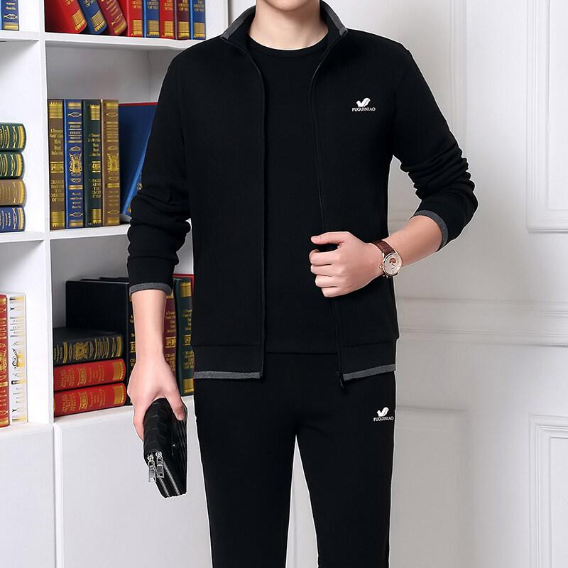 富贵鸟运动套装男秋冬季运动衣两件套休闲爸爸装中老年人运动服
