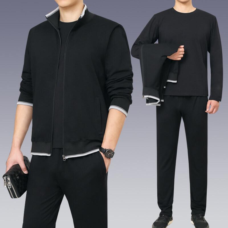 卫衣长裤男士春秋季休闲大码爸爸装两件套中老年套装男外套运动服