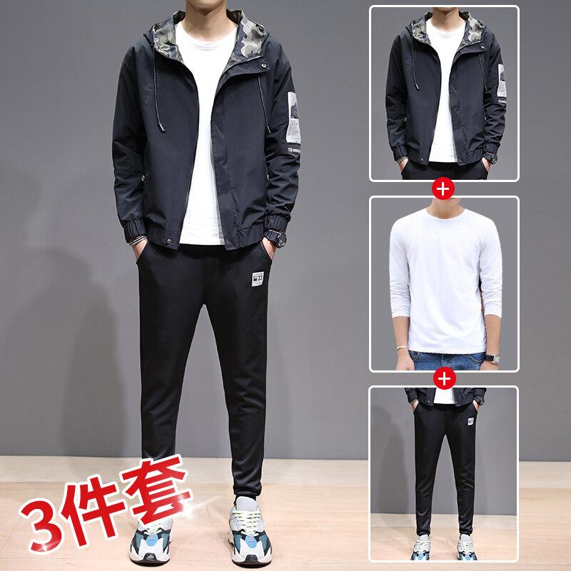 男士三件套855三件套装男装夹克裤子纯白T恤长袖T恤男士外套