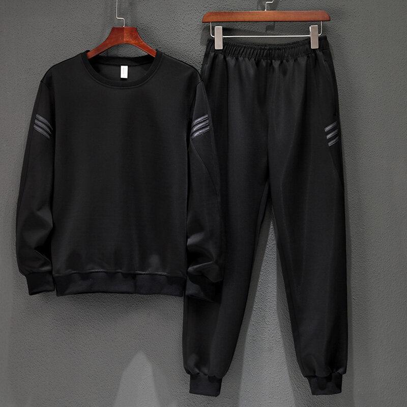 2019新款男士三条杠圆领长袖长裤时尚运动休闲两件套套装男