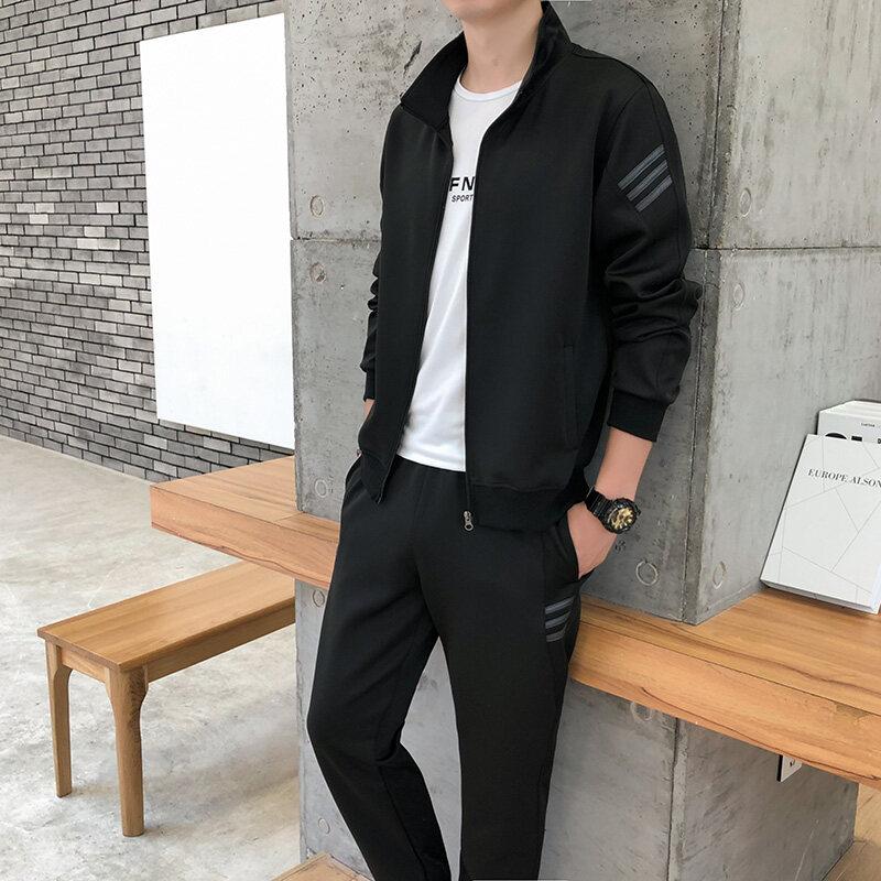 2019新款男士时尚休闲运动开衫长袖长裤纯色两套套装男