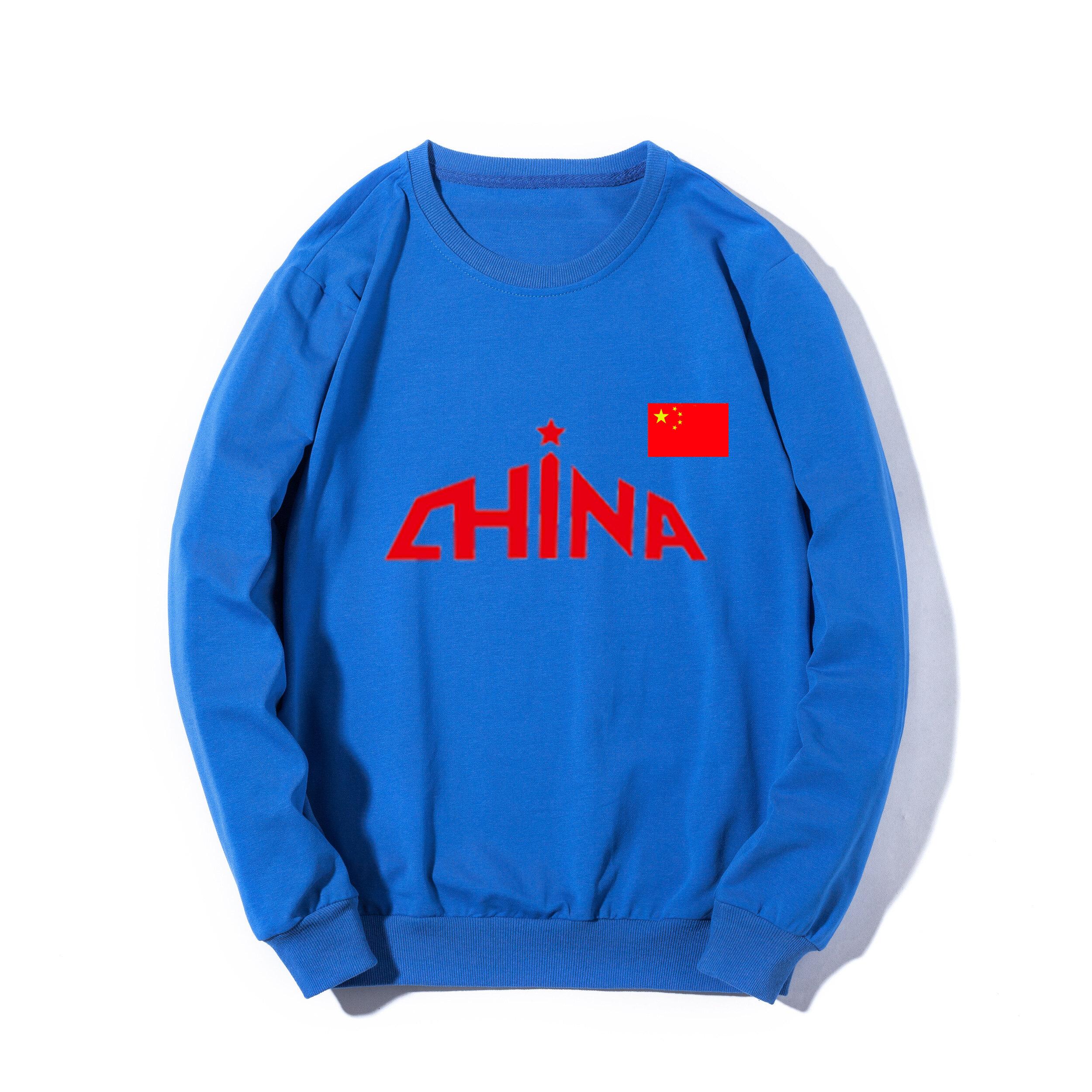 男士户外健身休闲运动圆领套头衫中国队五星红旗宽松舒适时尚百搭