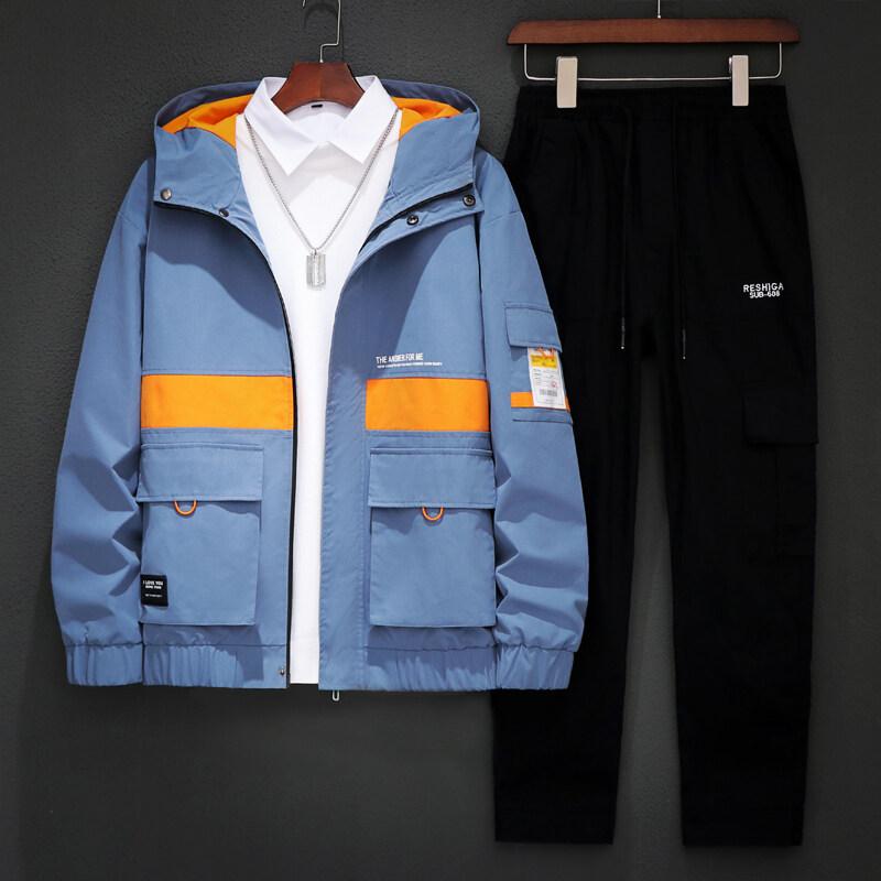 外套男春秋夹克新款韩版潮流男装一套衣服青少年学生连帽休闲套装
