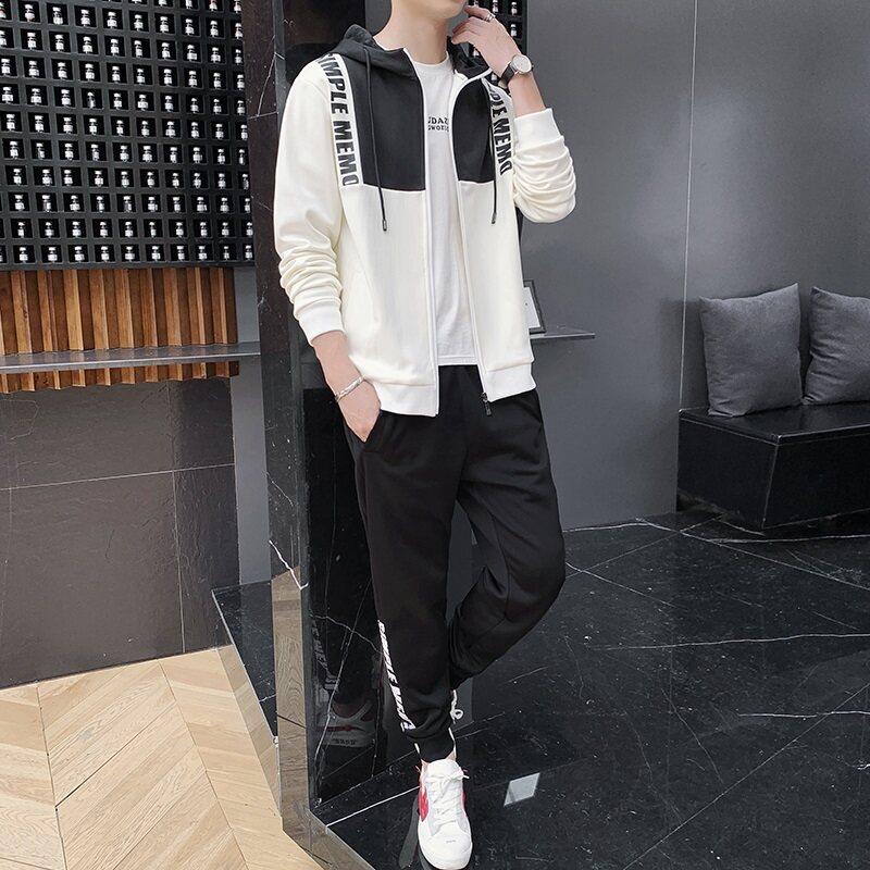 男士套装2019新款秋季休闲帅气一套运动服韩版潮流两件套连帽