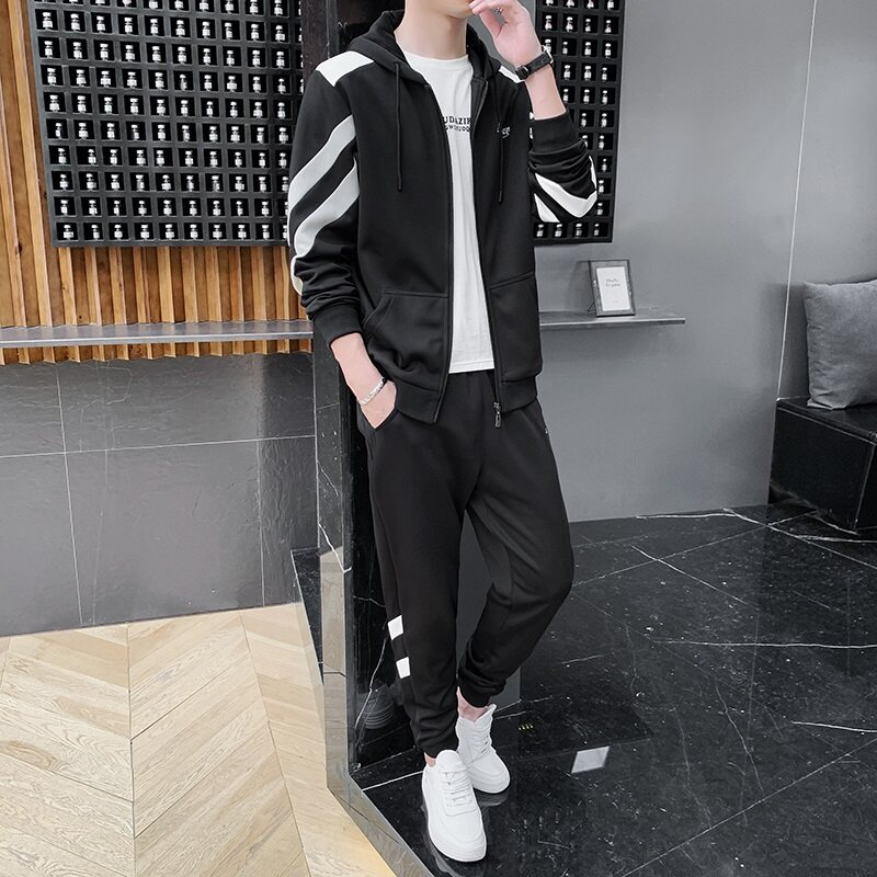 春季卫衣男运动休闲套装青少年潮流帅气一套衣服连帽外套两件套