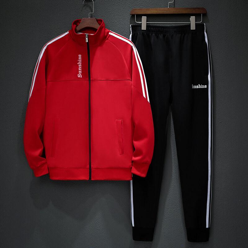 挂拍2019秋季新款立领休闲运动卫衣套装男士跑步服团购两件套