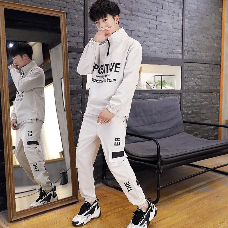 卫衣男潮秋季新款韩版潮流工装长袖套装嘻哈潮牌宽松休闲运动男装