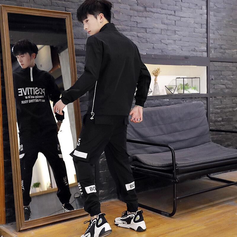 男士秋季两件套韩版潮流春秋款休闲运动卫衣潮牌宽松嘻哈套装外套