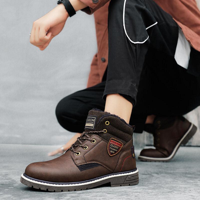 马丁靴男潮鞋男鞋高帮单鞋英伦风男士中帮雪地靴冬季工装靴棉鞋靴