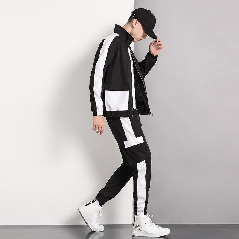 2019新款工装套装男士休闲运动服装卫衣立领外套梭织潮流套装