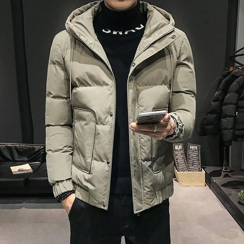 牧比斯M006秋冬宽松青少年棉袄纯色冬棉衣男学生保暖连帽棉服外套