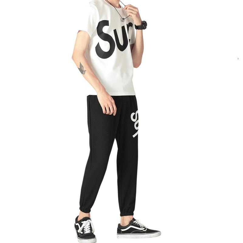 D25长套SUP短袖套装男士休闲套装蚂蚁布学生休闲衣服一套潮流新款
