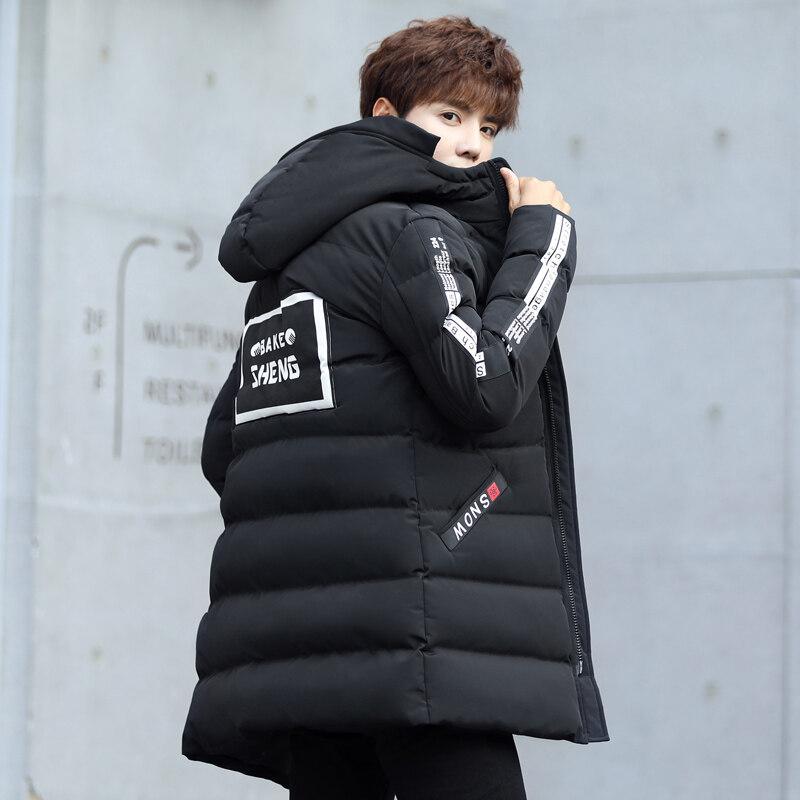 中长款棉衣男保暖2019冬季新款男士韩版修身连帽印花青年时尚