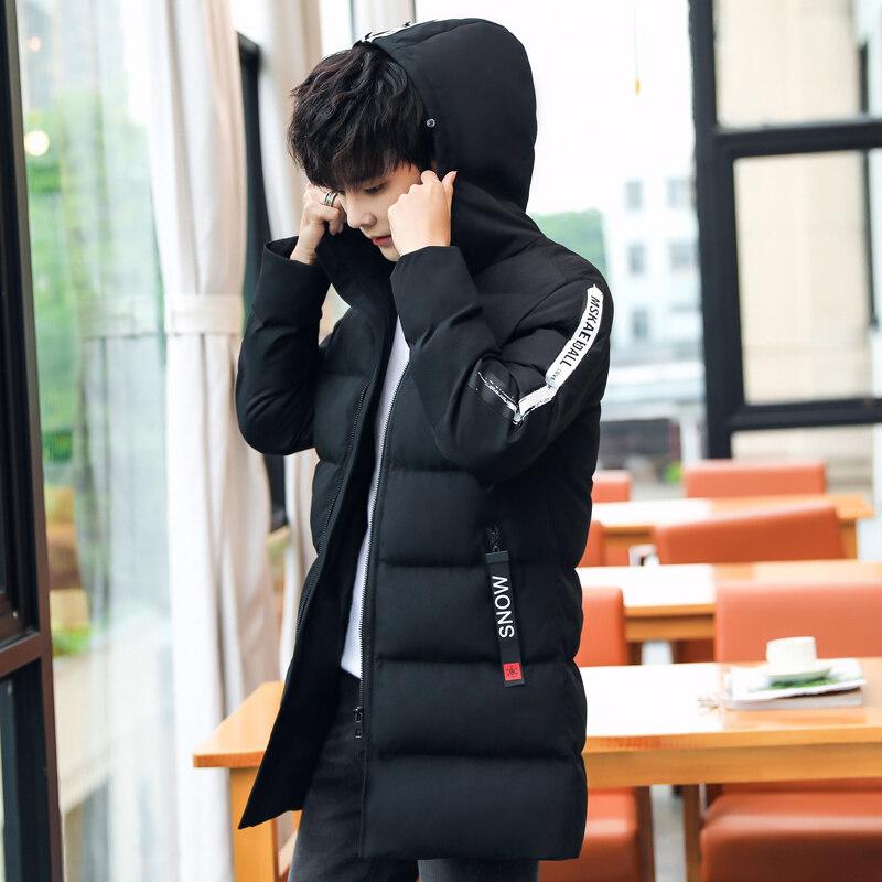 加绒棉衣男中长款连帽外套冬季新款保暖时尚休闲百搭男士棉袄大衣