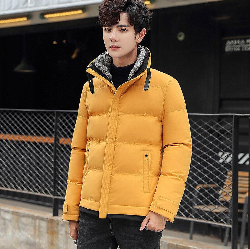 秋冬宽松青少年棉袄纯色冬棉衣男学生保暖连帽棉服外套