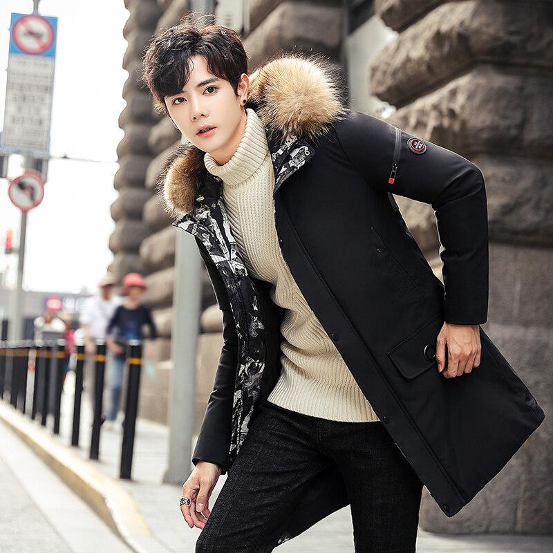 冬季棉衣男中长款加厚棉服青年帅气大衣男韩版男冬天外套潮流羽绒
