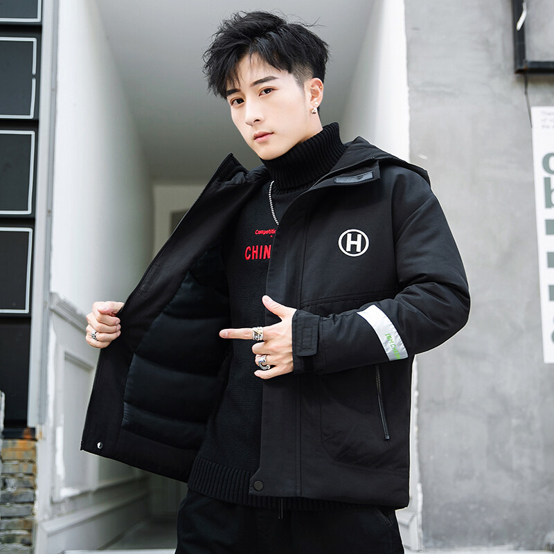 棉袄2019年新款连帽加厚面包服青少年学生棉衣男潮牌拼色冬装