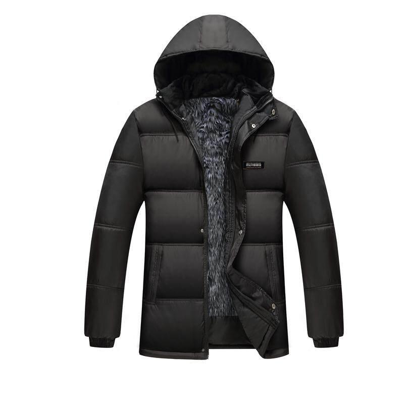 加绒棉衣男保暖加厚冬季男士韩版修身可拆卸帽中年棉袄休闲外套