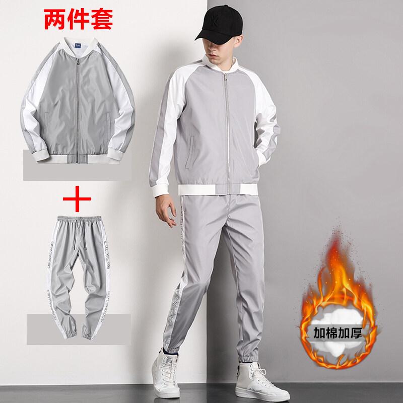 厂家直销冬季加绒加厚韩版潮流休闲运动卫衣套装棒球领外套两件套