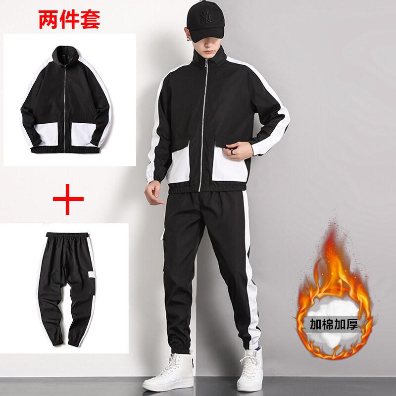 厂家直销冬季加绒加厚韩版潮流休闲外套两件套男运动卫衣工装套装