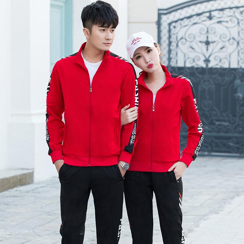 02号运动套装男春秋季男女长袖跑步运动服情侣休闲户外两件套