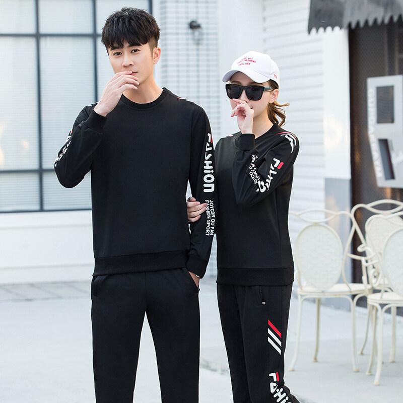 02号春秋季男休闲运动韩版青少年长袖圆领卫衣两件套男女情侣装