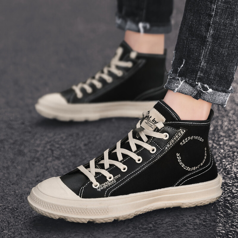 【喜乐】帆布面橡胶底布里 潮流男鞋高帮板鞋运动休闲鞋一件代发