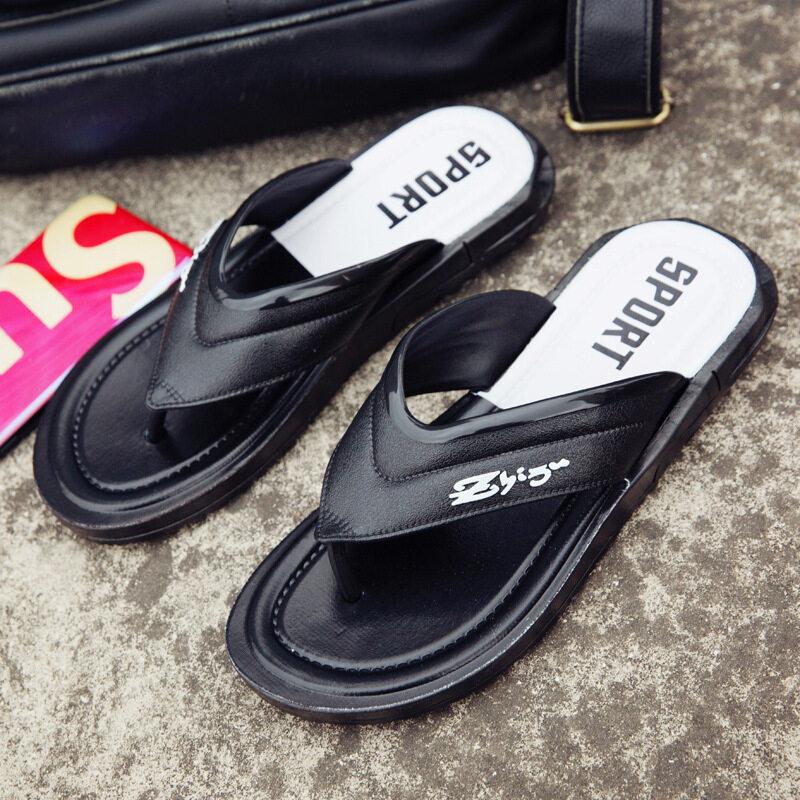 批发夏季男式人字拖室内外休闲百搭拖鞋厚底防滑减震夹脚沙滩拖鞋