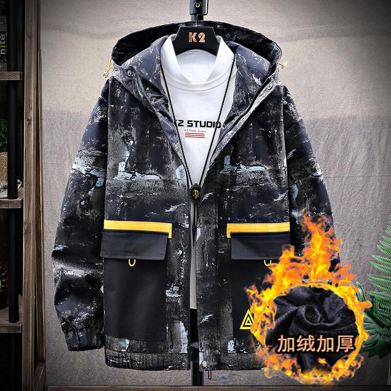 男士工装外套春秋季2020新款加绒潮流迷彩夹克男休闲帅气潮牌