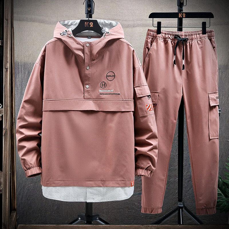 2020新款潮牌春秋季休闲工装裤子两件套青少年运动嘻哈