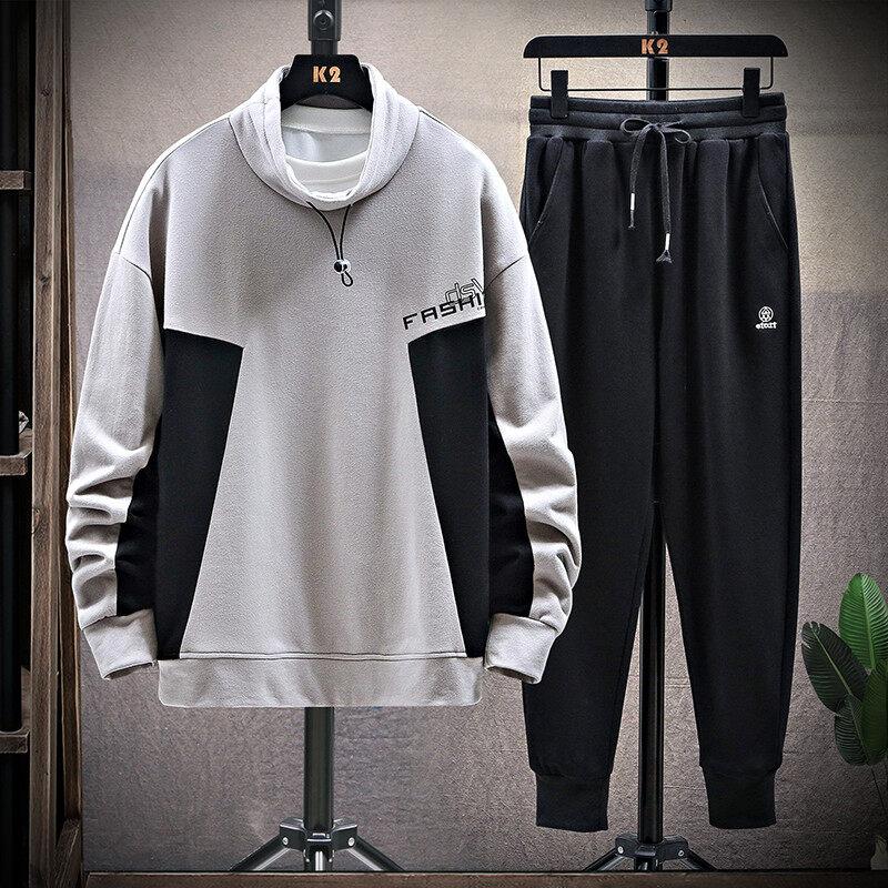 2020新款春秋款卫衣男休闲套装潮流韩版工装裤两件套