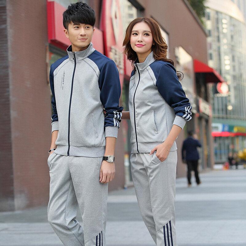 运动套装男女 春秋季运动服装定制 青年两件套跑步卫衣