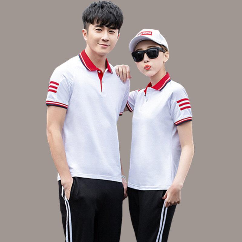 运动套装男POLO衫夏季短袖T恤长裤两件套情侣装女夏天跑步休闲服