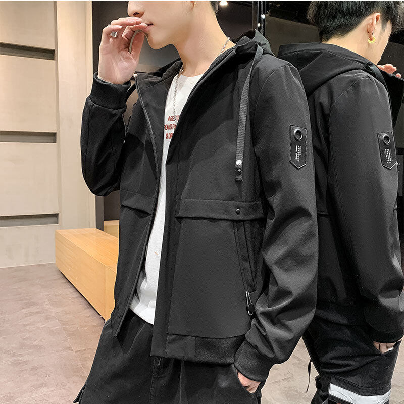 男士外套春秋季2020新款夹克男装韩版青年学生休闲连帽外套潮1805