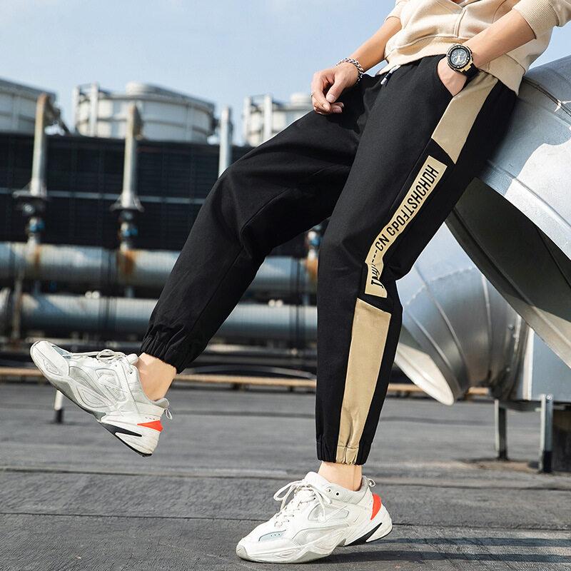 裤子男潮ins运动裤2020春季韩版显瘦束脚休闲港风工装裤男九分裤