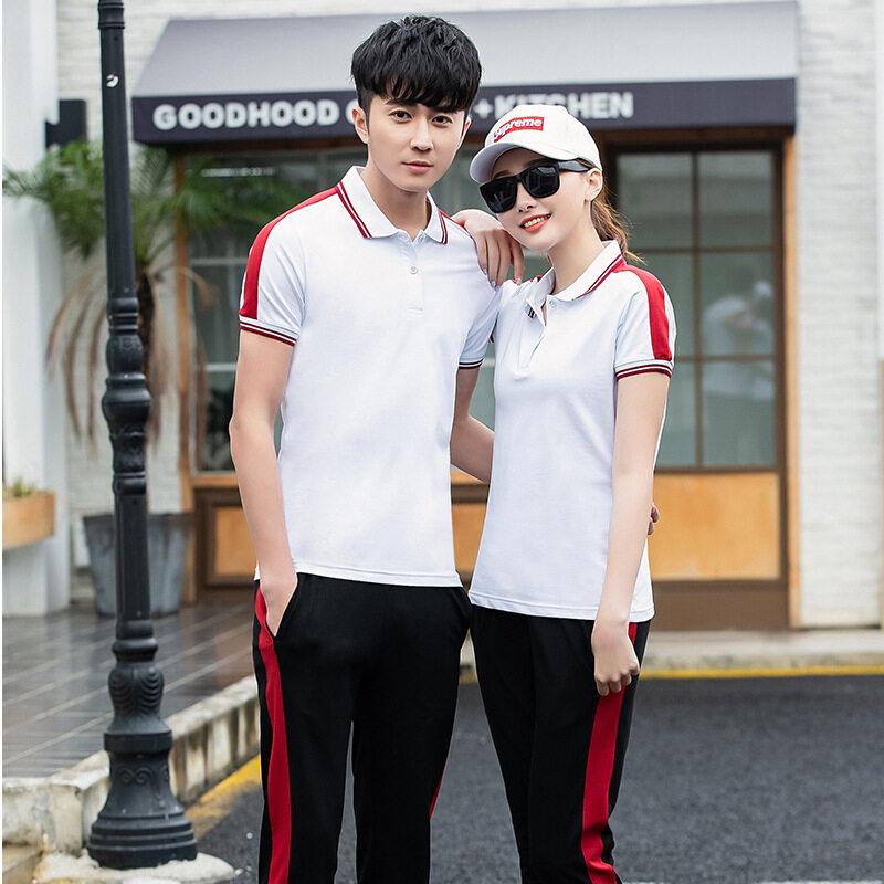 夏季初中高中学生班服运动服套装男女纯棉校服短袖T恤长裤两件套