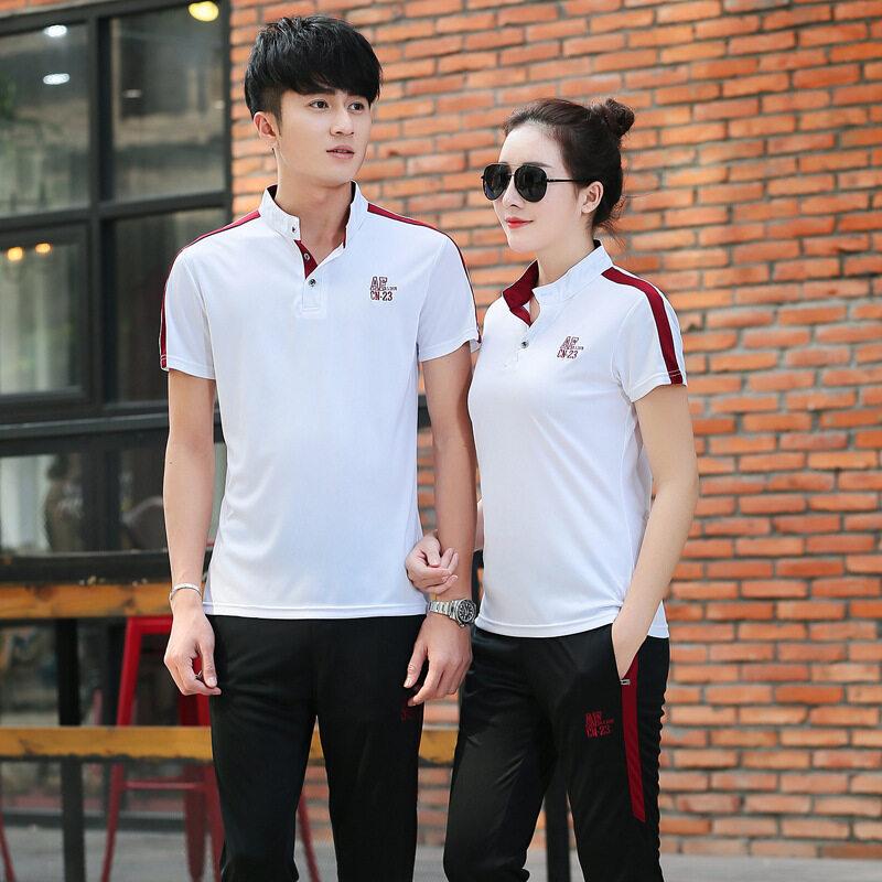 新款男女情侣运动套装夏季长裤短袖立领休闲运动纯棉班服教师服