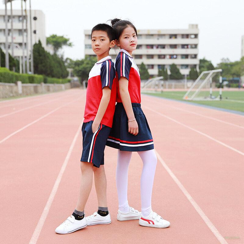 夏季幼儿园男女童运动套装 休闲风小学生校服夏天短袖班服可定制